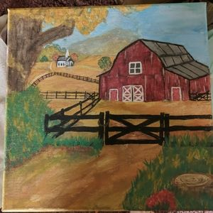 Red barn and church hand painting